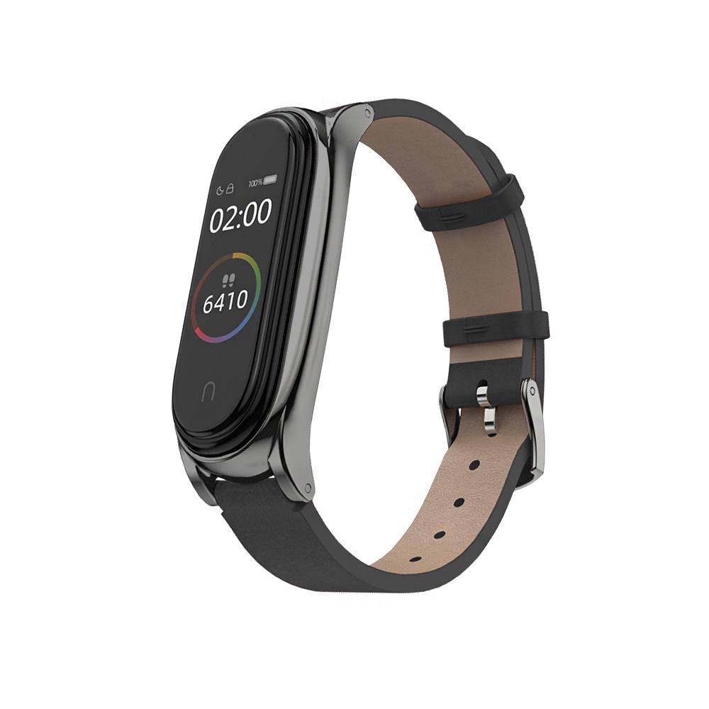 小米手環6/5/4/3代通用 經典質感皮革替換錶帶-黑