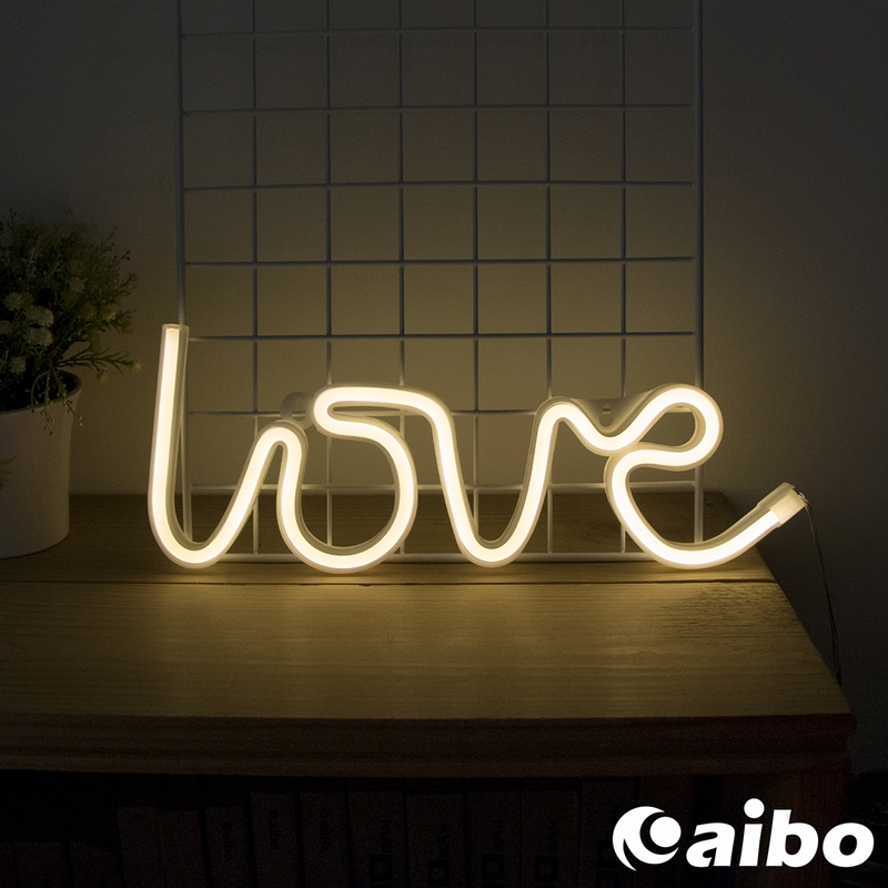 USB/電池兩用 霓虹燈造型 LED裝飾燈/氣氛燈-LOVE(暖光)