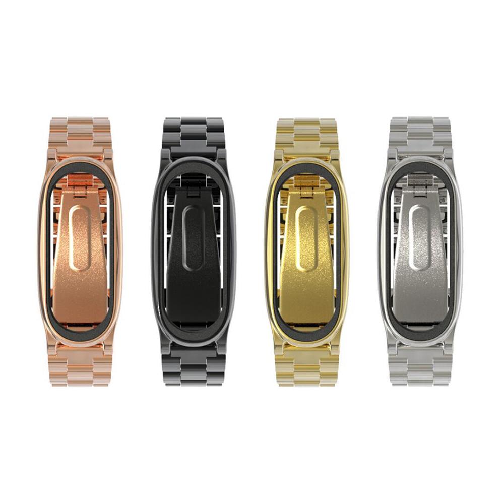 mijobs 小米手環 4 / 手環 3 不鏽鋼腕帶(三珠款)(金色)