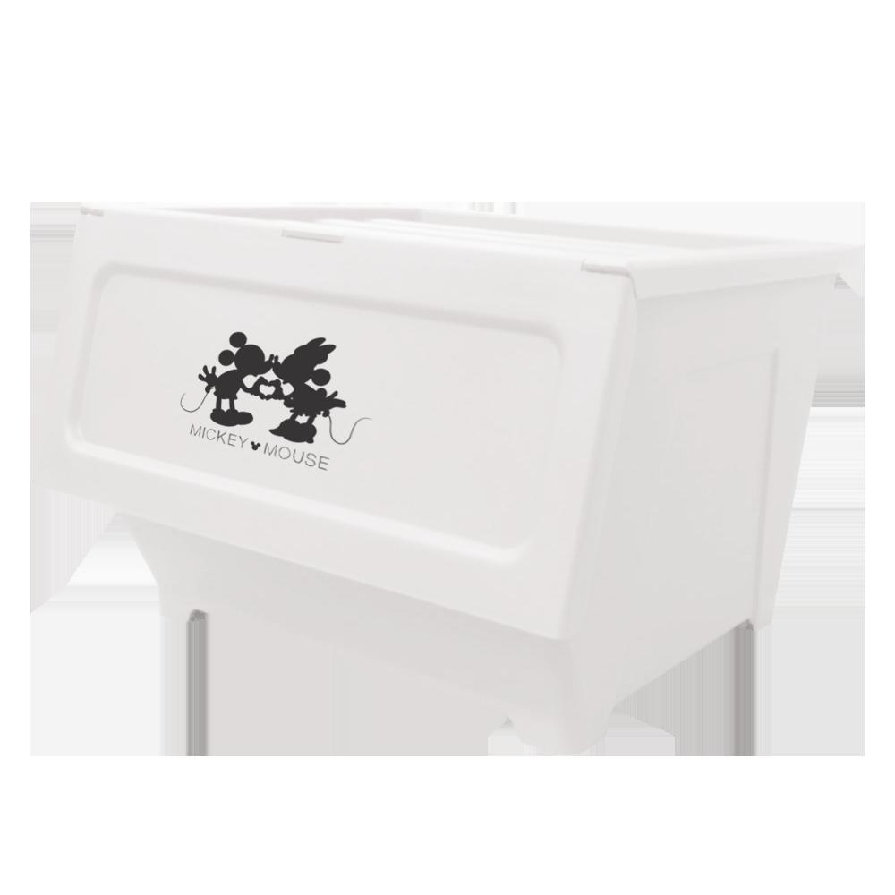 【收納王妃】迪士尼米奇米妮系列掀蓋式防塵收納箱(40L/4入組)-白色
