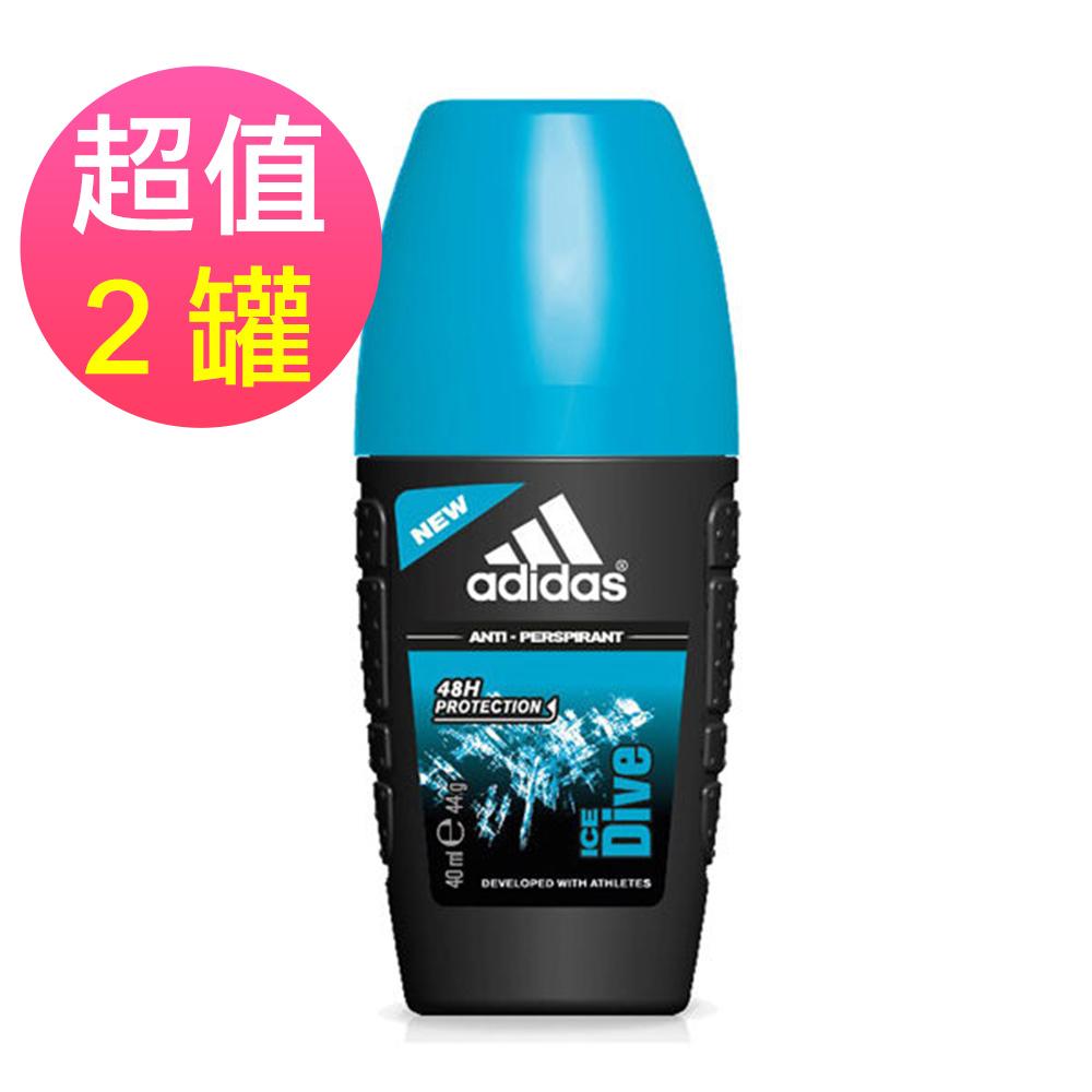 adidas愛迪達 男用制汗香體滾珠(品味透涼)x2罐(40ml/罐)