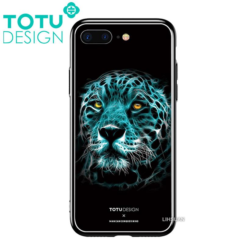 【TOTU台灣官方】鋼化 玻璃 背板 iPhone7 iphone8 i7 i8 4.7吋 手機殼 防摔殼 四角 全包 軟邊 掛繩孔 潮流花豹