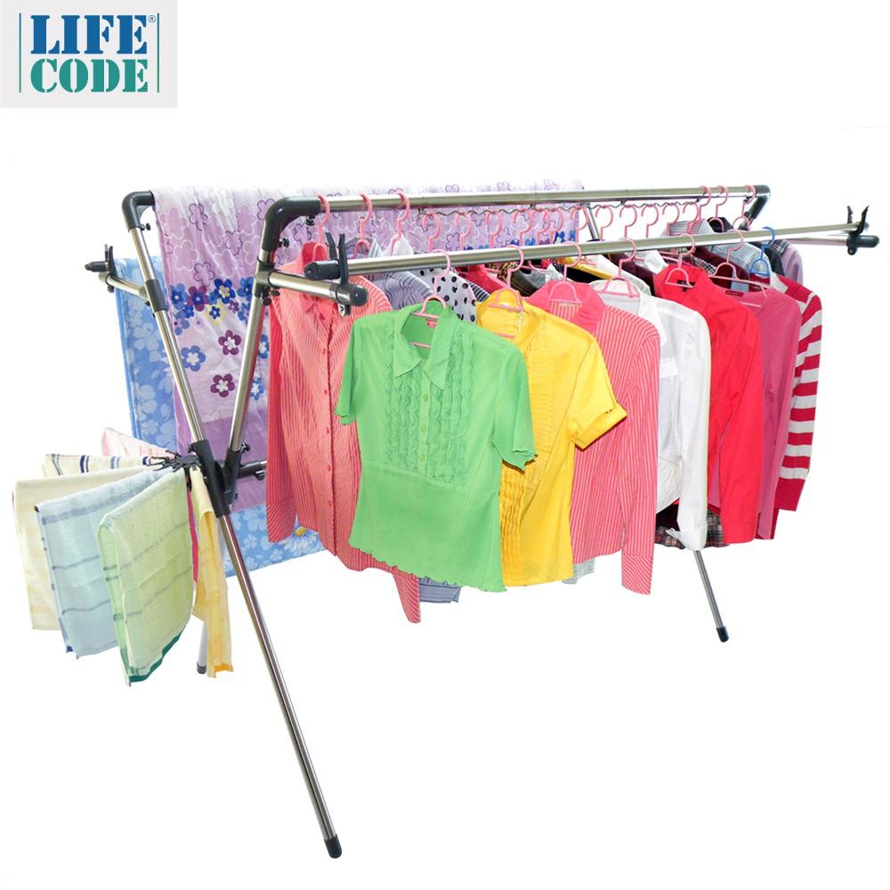 【LIFECODE】超大四桿-神奇X型曬衣架-附防風波浪架+毛巾架+襪子架