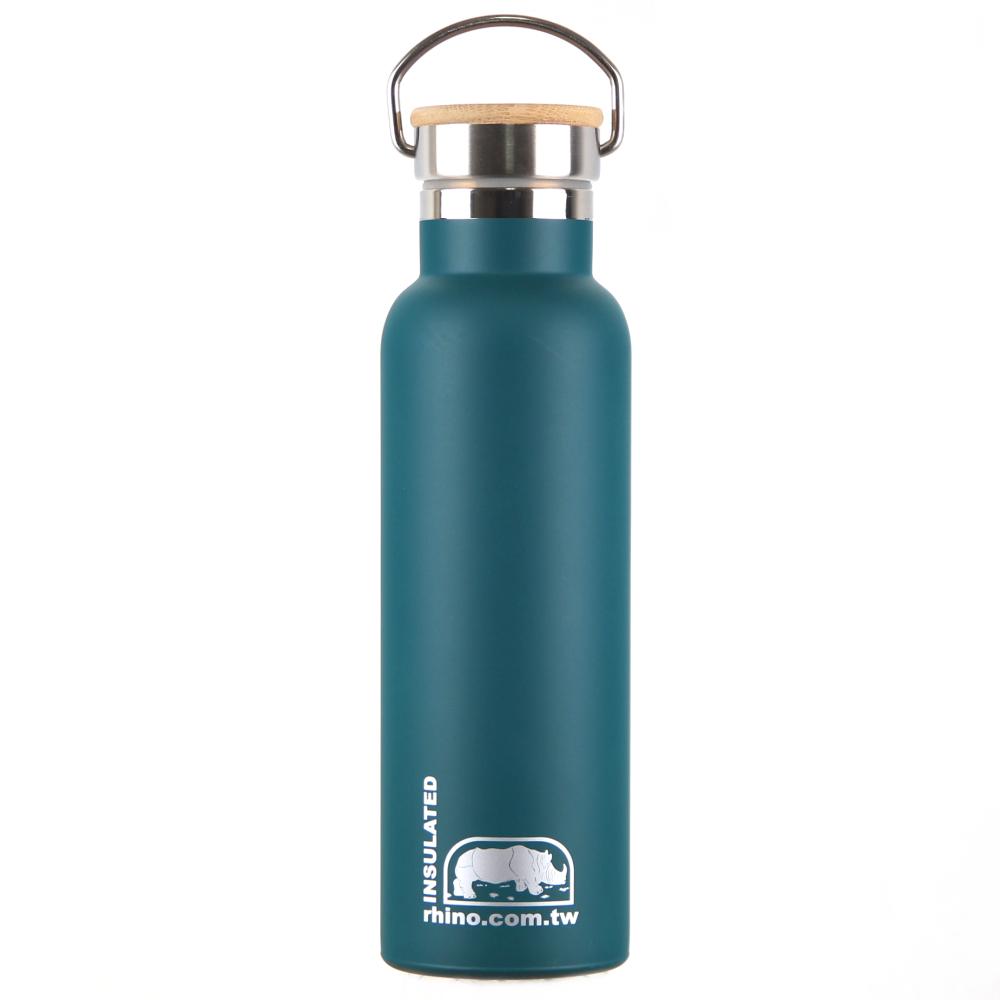 犀牛RHINO Vacuum Bottle雙層不銹鋼保溫水壺(竹片蓋)600ml-清綠