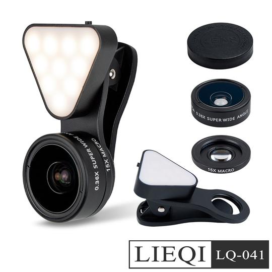 LIEQI 廣角/微距/補光燈三合一 自拍直播夾式鏡頭(LQ-041)-黑色