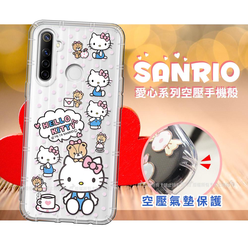 三麗鷗授權 Hello Kitty凱蒂貓 realme 5/C3/6i 共用 愛心空壓手機殼(咖啡杯)