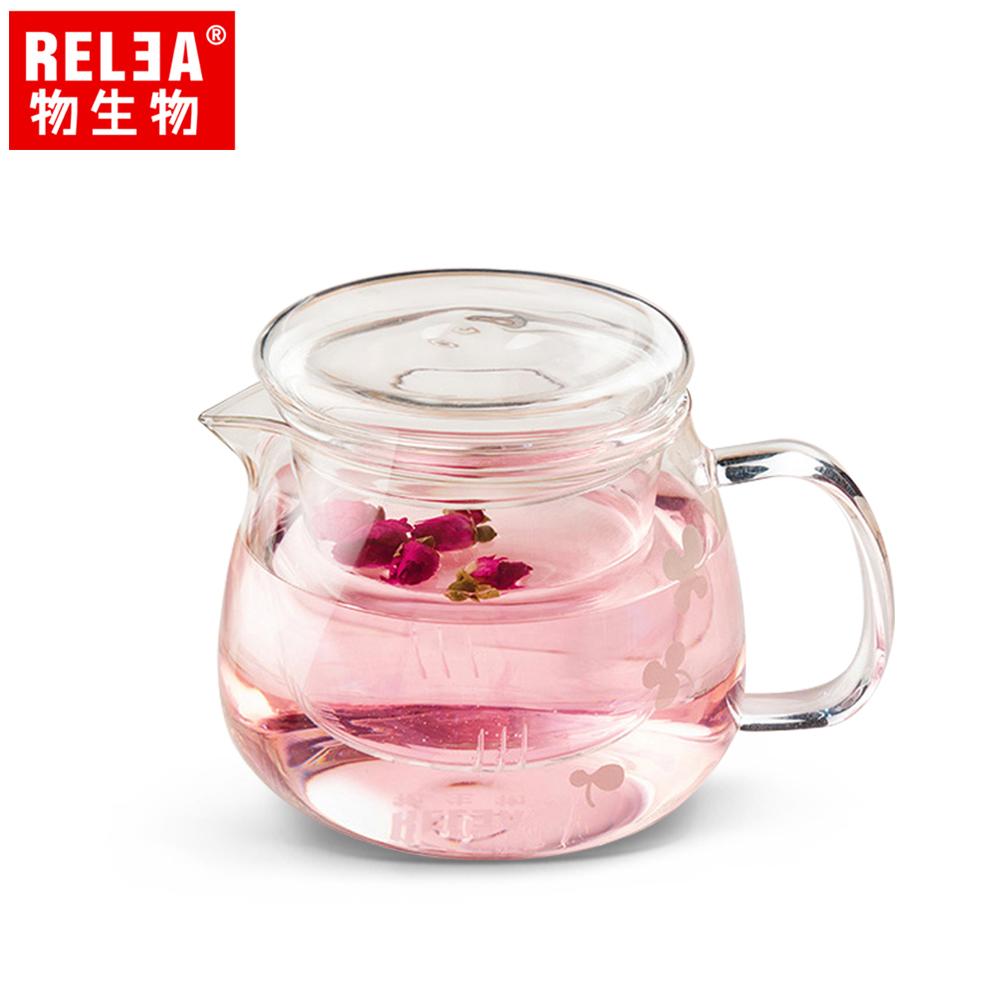 【香港RELEA物生物】500ml小花耐熱玻璃泡茶壺(附濾茶器)