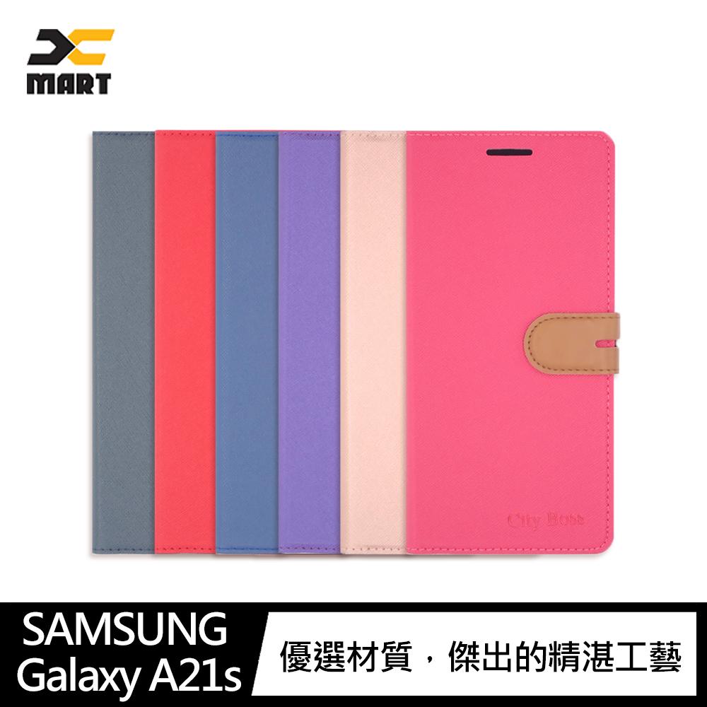 CITY BOSS SAMSUNG Galaxy A21s 側掀可立皮套(紫色)