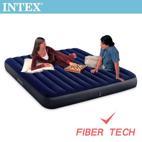 【INTEX】經典雙人加大(新款FIBER TECH)充氣床墊-寬152cm(64759)