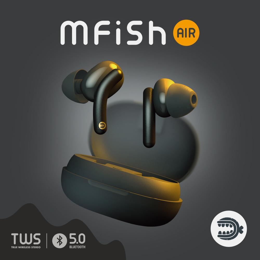 黑魚Mfish Air 藍牙5.0 TWS真無線耳機-黑色