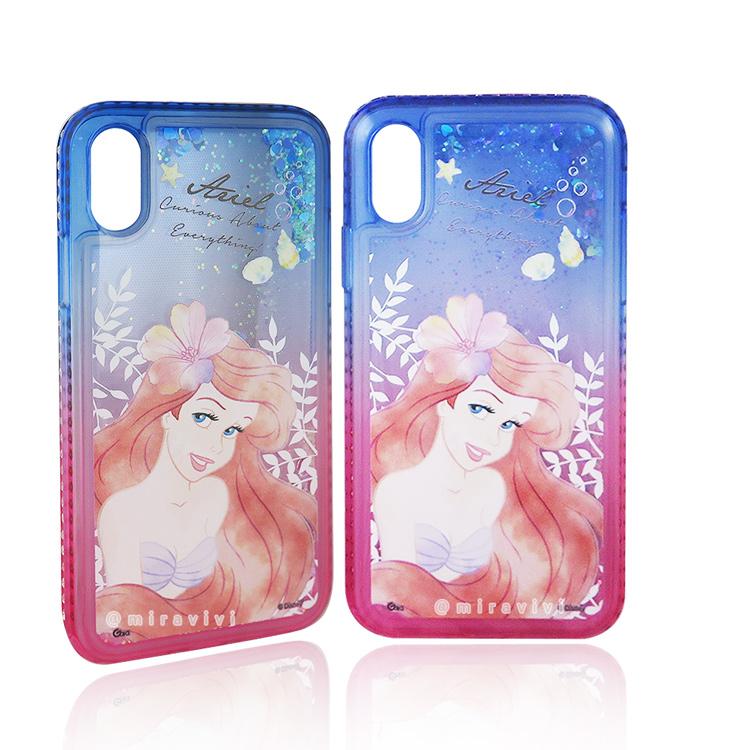 Disney迪士尼iPhone X/XS閃亮流沙水鑽漸層雙色保護殼套_唯美小美人魚