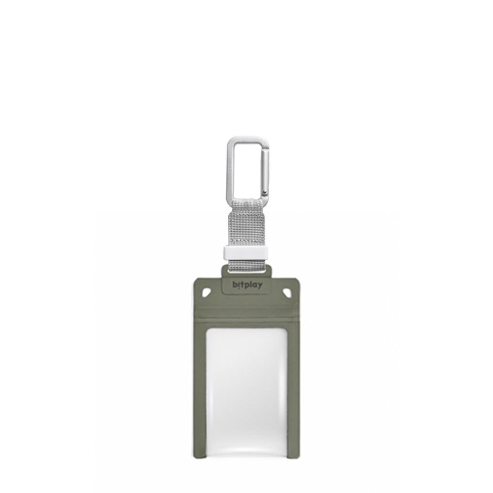 bitplay AquaSeal 防水機能證件套 - 荒野綠 + 訂製掛鉤 - 銀色