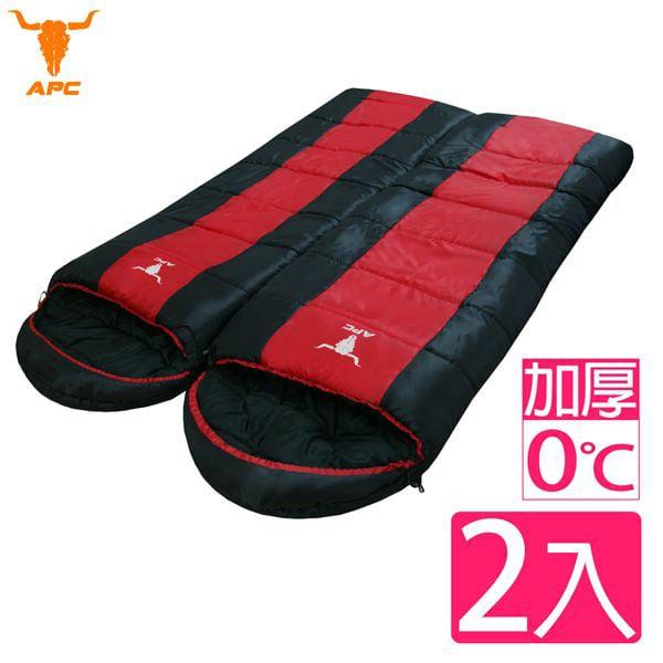 【APC】秋冬加厚可拼接全開式睡袋-紅黑(2入組)