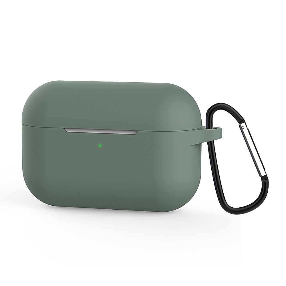 Airpods Pro 純色矽膠保護套 (附扣環)-抹茶綠