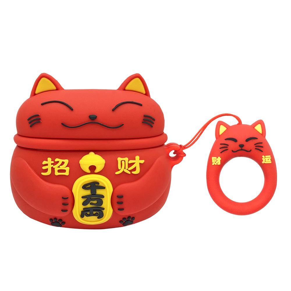AirPods Pro 招財貓立體造型矽膠保護套 附造型掛繩-紅貓
