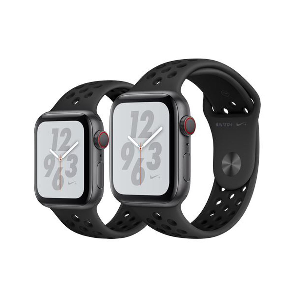 Apple Watch Nike+Series4 GPS+Series4Cellular版太空灰配上煤黑色配黑色Nike運動型錶帶44mm(MTXM2TA/A)