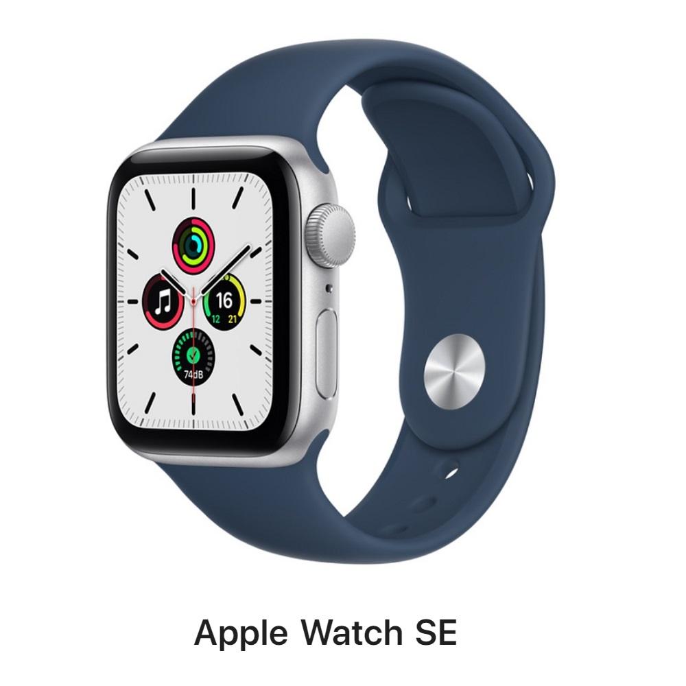 Apple Watch SE 40mm GPS 2021銀色鋁錶殼配藍色運動錶帶(MKNY3TA/A)