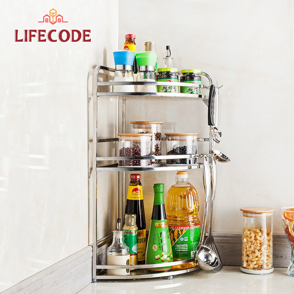 【LIFECODE】收納王不鏽鋼三層轉角置物架/調料架