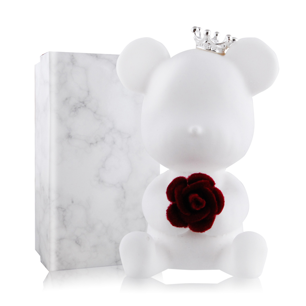 O'Pretty 歐沛媞 室內/車用 香氛擴香石擺飾-白色暴力熊-玫瑰(.5X3X7cm)