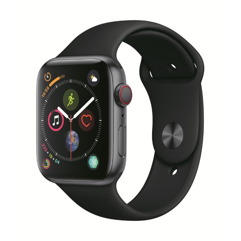 Apple Watch S4 LTE 44mm 太空灰色鋁金屬-黑色運動型錶帶