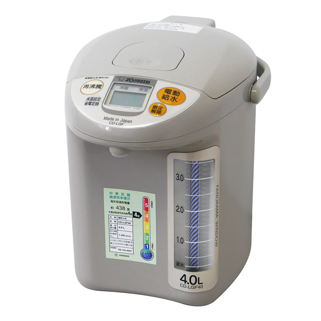 【象印】4公升寬廣視窗微電腦熱水瓶(TK灰色) CD-LGF40