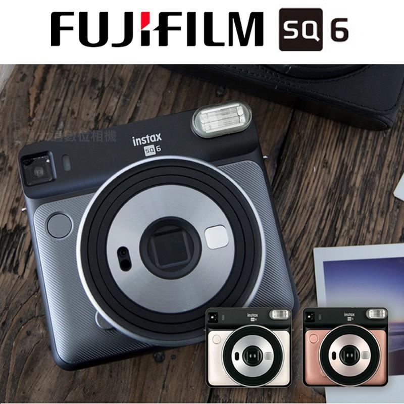 富士 FUJIFILM INSTAX SQUARE SQ6 (腮紅金) 送3盒空白底片+相片透明套40入 正方型 復古拍立得相機 原廠公司貨保固一年