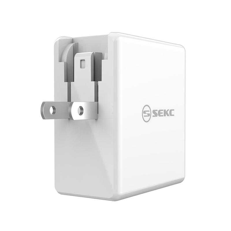 【SEKC】 PD+QC3.0 60W 2孔牆充充電器 白
