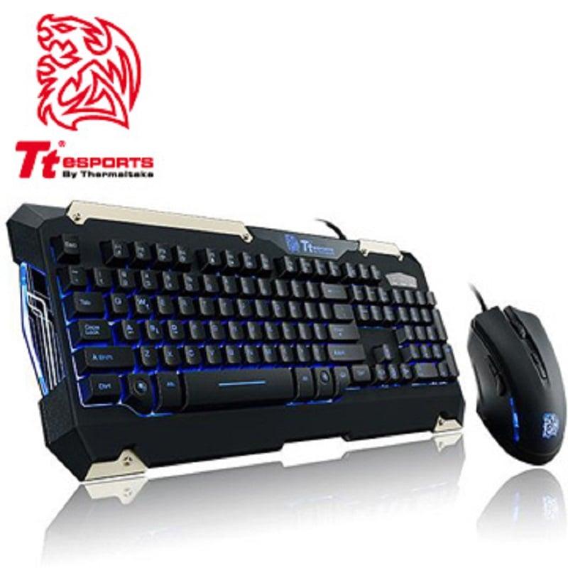 Tt eSPORTS 軍令官COMMANDER Combo電競LED藍光鍵盤滑鼠組KB-CMC-PLBLTC-08