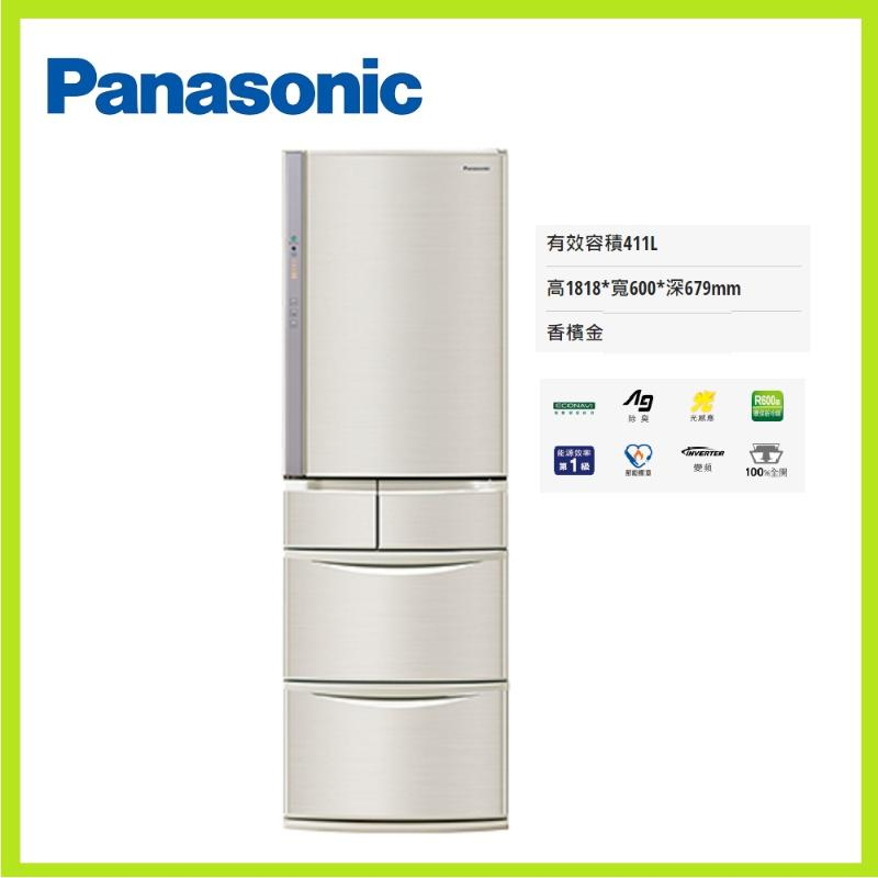 PANASONIC 411公升五門變頻鋼板電冰箱 香檳金 NR-E414VT-N1