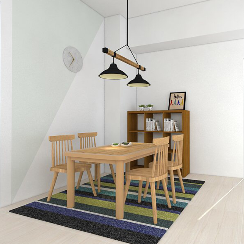 【UWOOD 優渥實木】133CM圓弧邊造型桌+梣木格柵餐椅套組 WRDT001R WRCH01R1