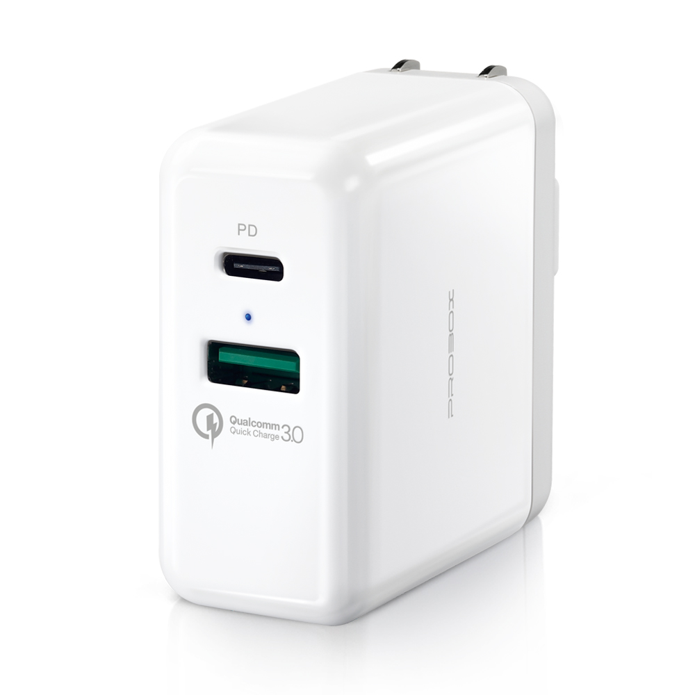 PROBOX Type A+C 雙孔USB PD/QC3.0急速充電器-白