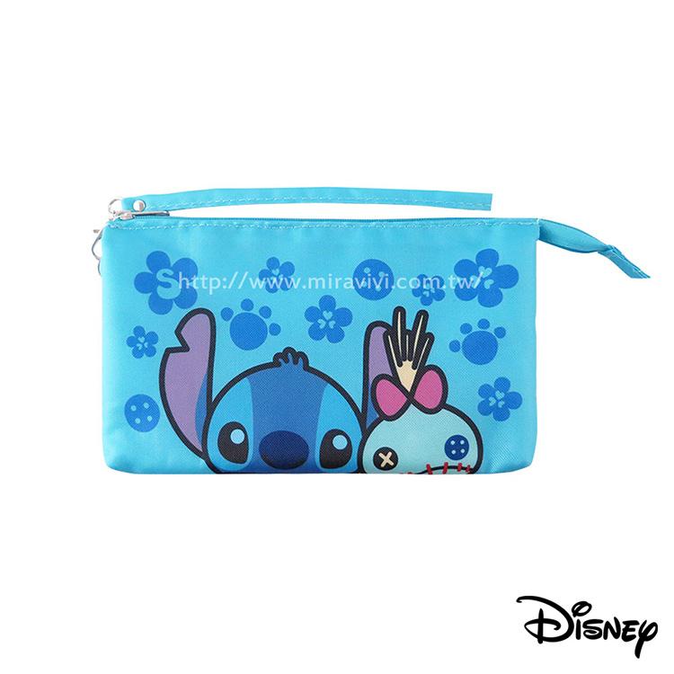 Disney迪士尼經典橫式雙層帆布手機袋萬用包_史迪奇醜ㄚ頭