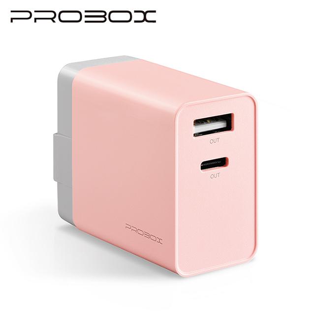 PROBOX Type C+A雙孔USB極速充電器-粉紅