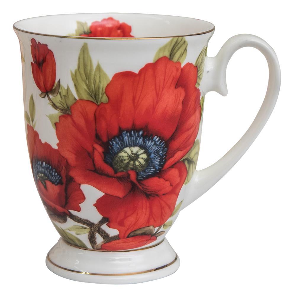 【Beatrice碧翠絲】歐式典雅骨瓷馬克杯-紅花