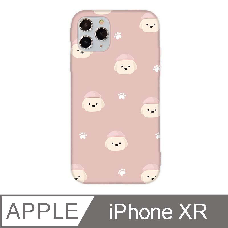 iPhone XR 6.1吋 文藝貴賓狗iPhone手機殼 奶油貴賓碎花款 夢幻粉