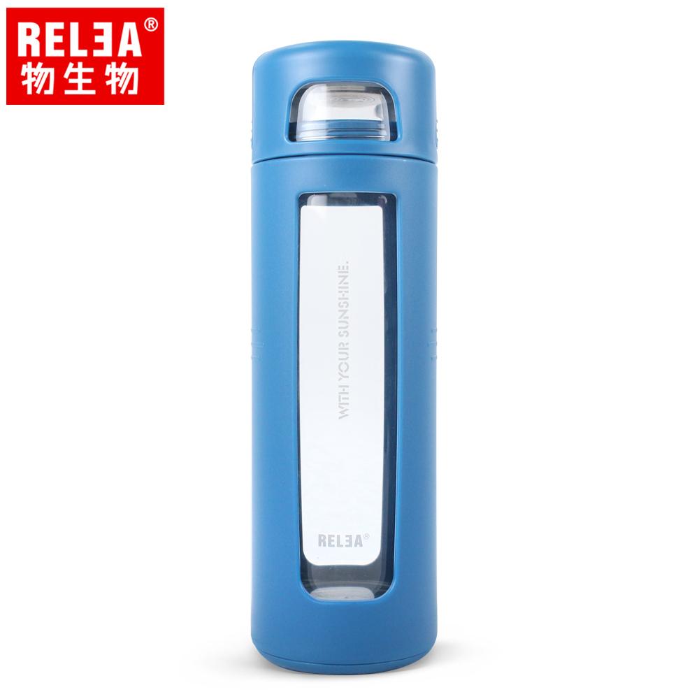 【香港RELEA物生物】420ml拾彩抗摔防震密封耐熱玻璃杯(純淨藍)