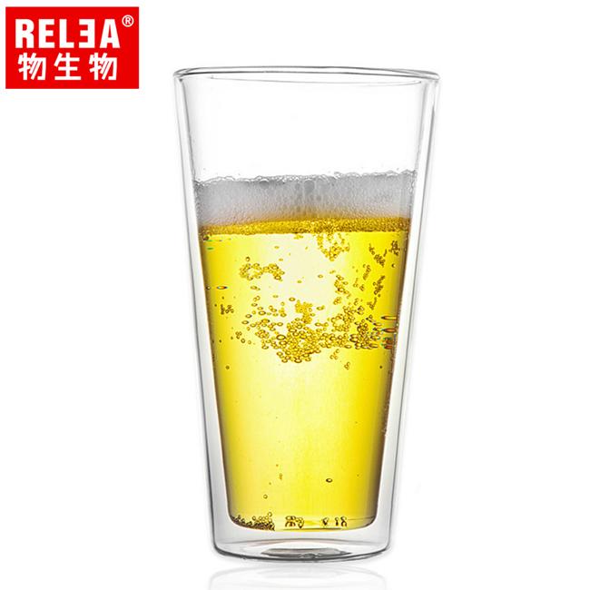 買1送1【香港RELEA物生物】470ml寬口耐熱雙層玻璃杯
