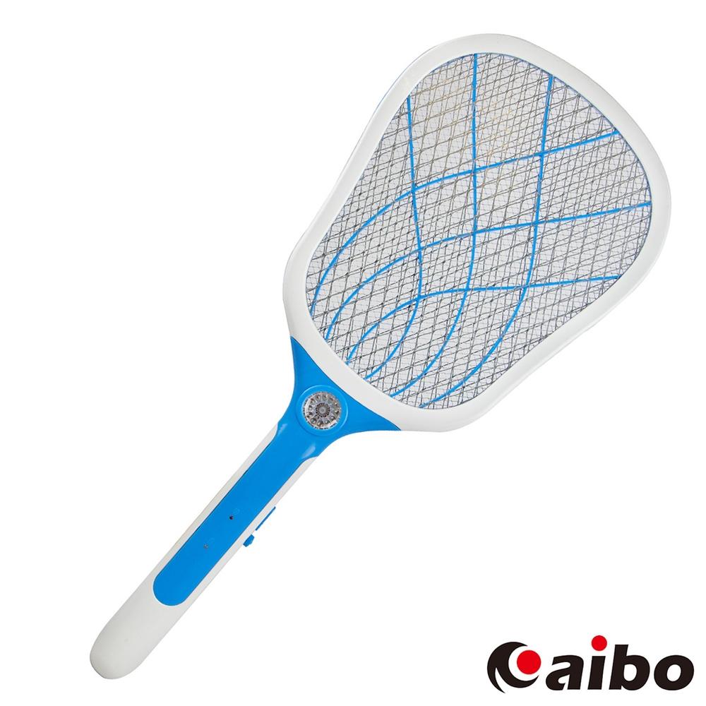 aibo LED照明USB充電式 三層網防觸電蚊拍(UR-19A3)-粉藍