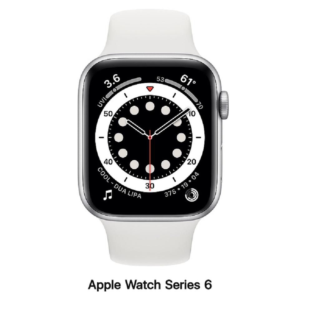 【血氧檢測】Apple Watch S6 44mm GPS版 銀色鋁錶殼配白運動錶帶(M00D3TA/A)