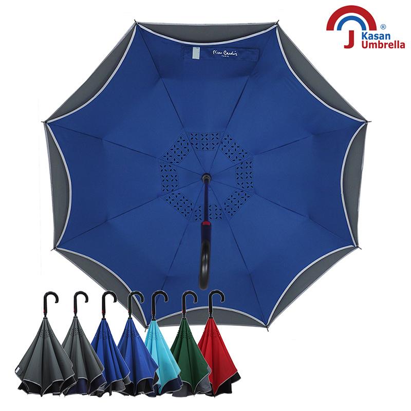 【皮爾卡登】雙層紳士自動反向傘-藍灰