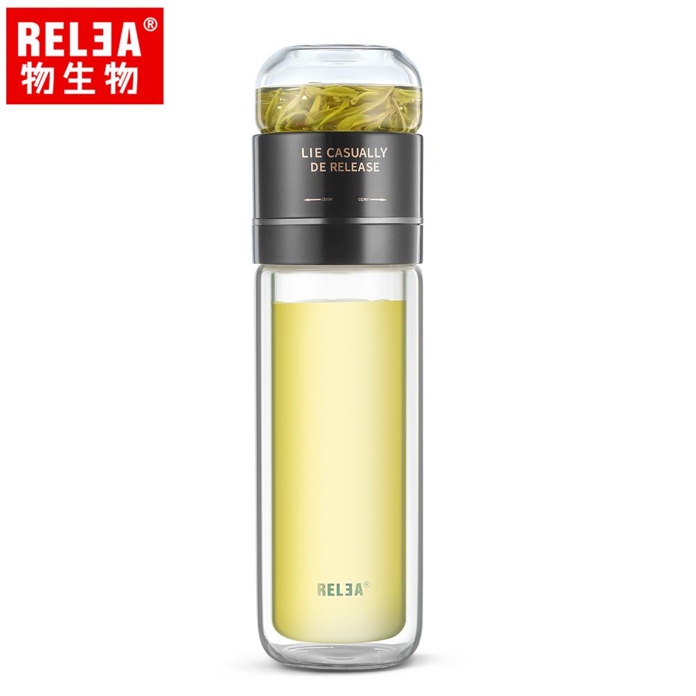 【香港RELEA物生物】300ml茶時分離式翻轉耐熱雙層玻璃泡茶隨行杯(琉璃黑)