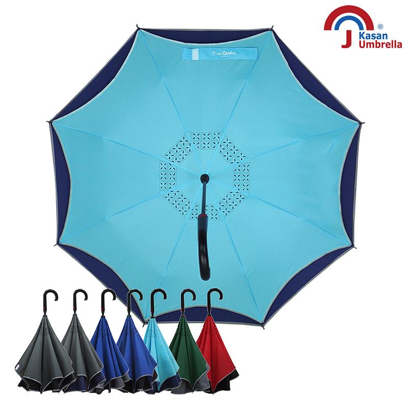 【皮爾卡登】雙層紳士自動反向傘-水藍