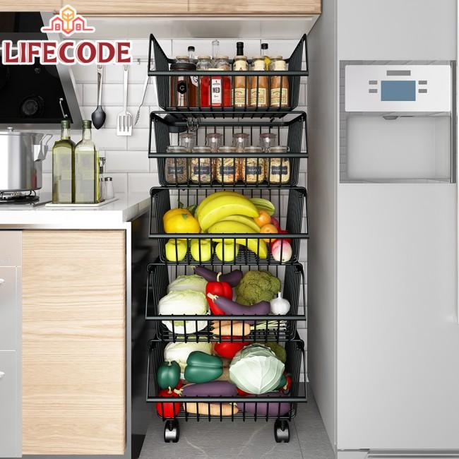LIFECODE《收納王》鈦鋼炭黑-四層蔬果收納籃/置物架-附輪可推