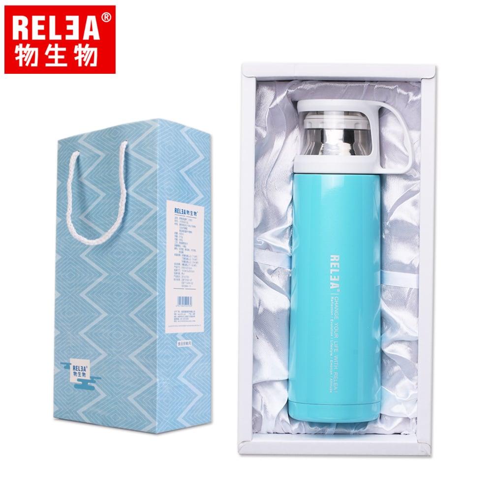 【香港RELEA物生物】450ml舒享雙層真空保溫保冷杯(純淨藍)