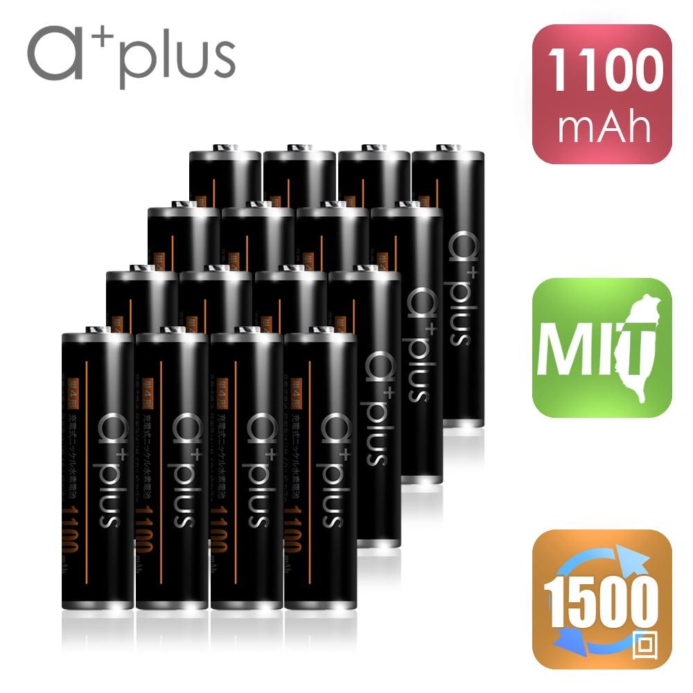 a+plus 高容量1100mAh低自放AAA-4號充電電池 16入
