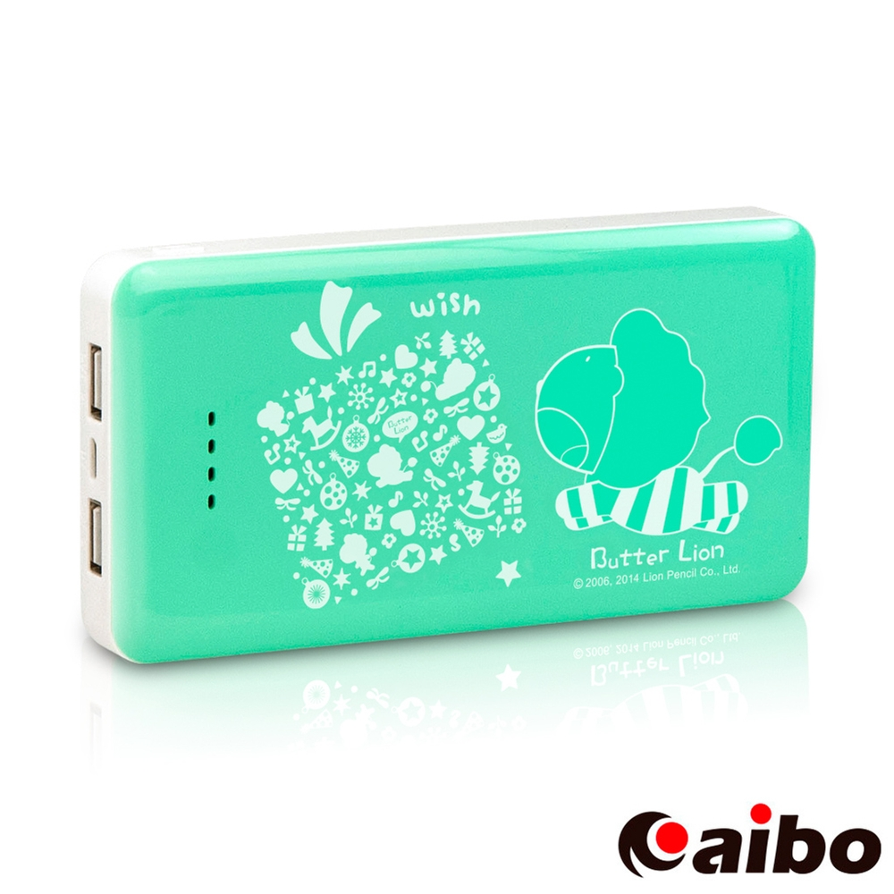 aibo【奶油獅】甜蜜晶鑽12500mAh高容量行動電源-藍綠