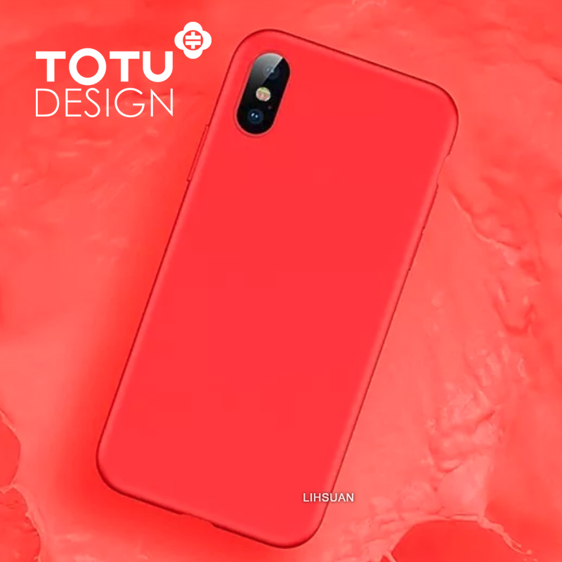 【TOTU台灣官方】出彩系列 iPhoneX iX 手機殼 輕薄 液態矽膠 保護套 防摔殼 手機套 全包 軟殼 紅色
