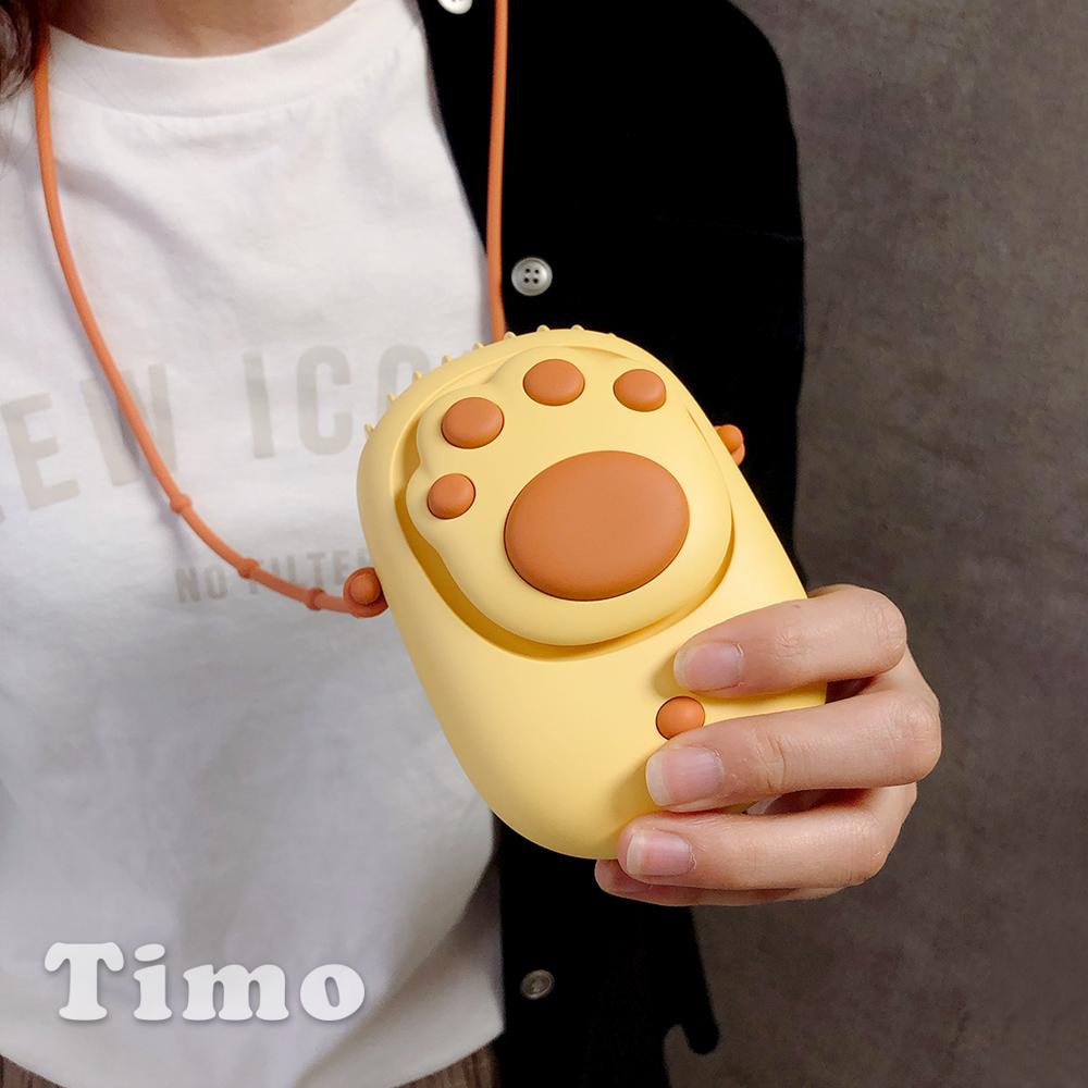 Timo 棉花糖貓爪掌上吹風扇/立扇-奶油黃