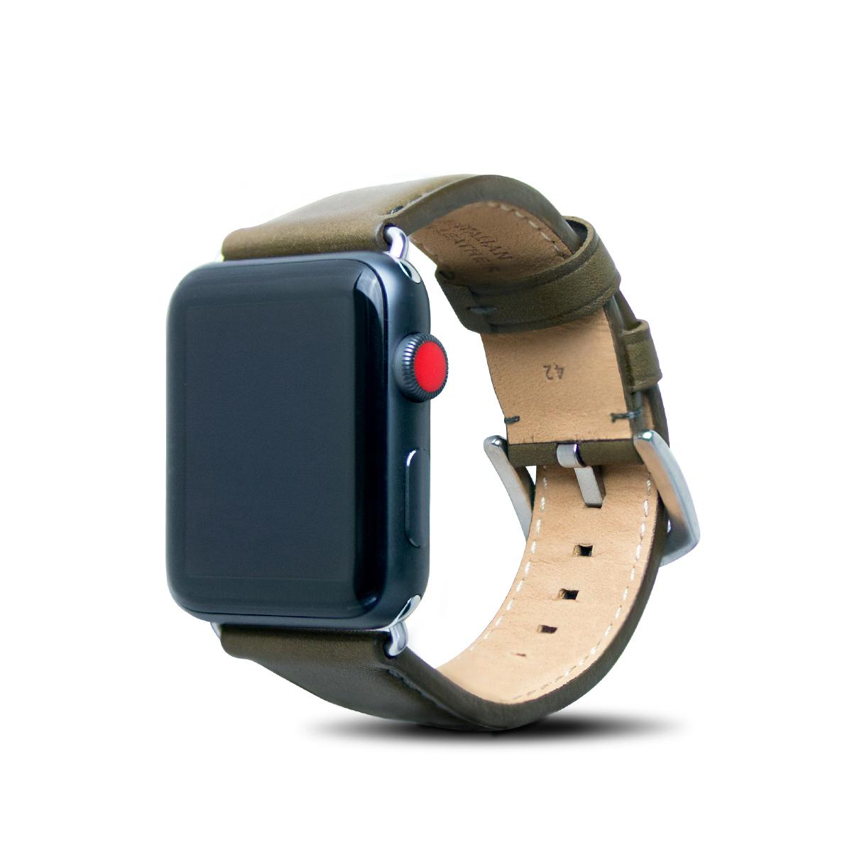 Apple Watch 42mm 皮革錶帶 - 橄欖綠