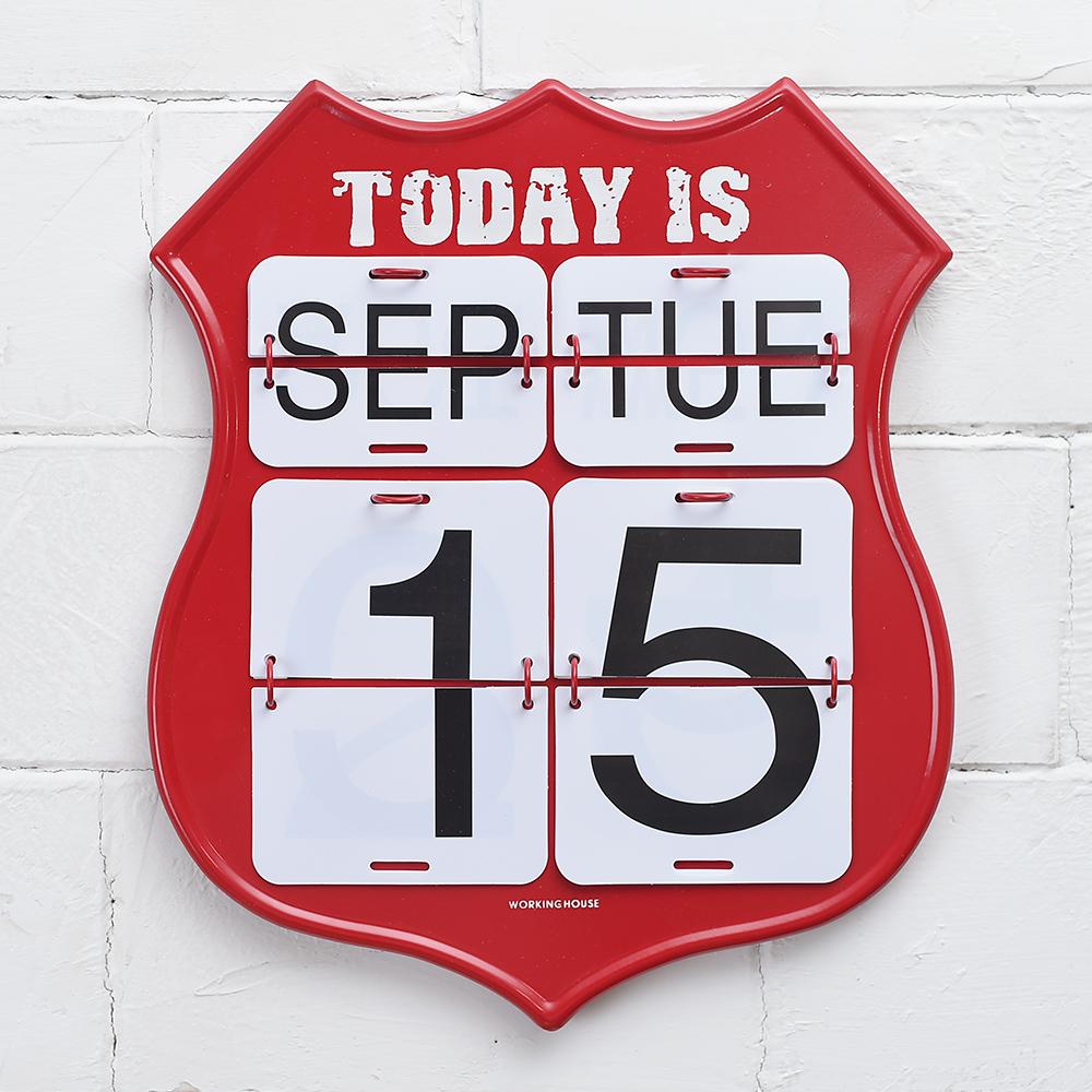 紅盾牌日曆鐵板掛飾39x33-生活工場